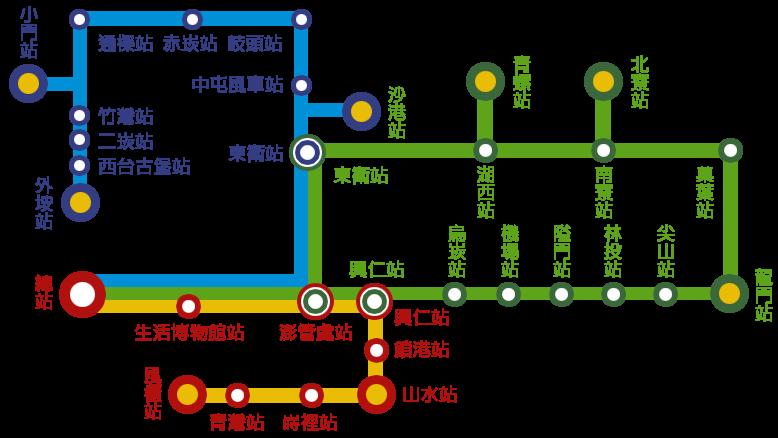 ポンフーの主なバス路線図