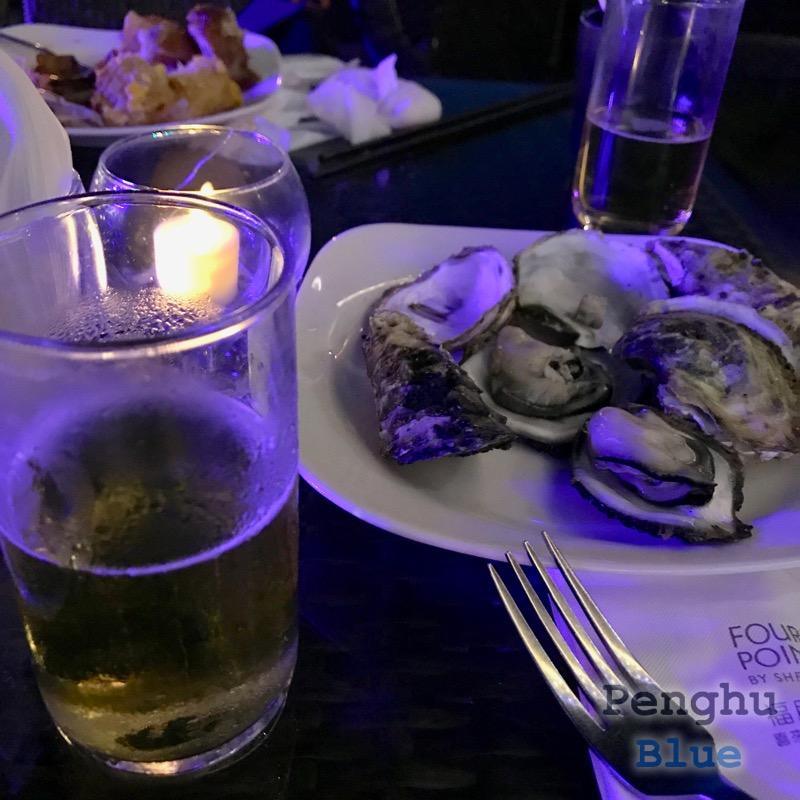 蒸し牡蠣とビール