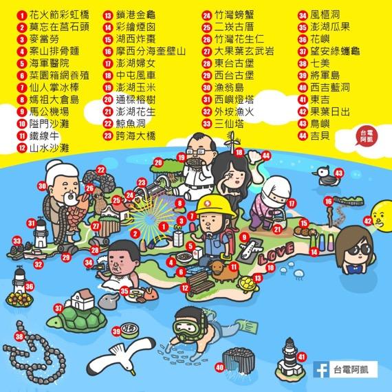 阿凱澎湖地圖明信片